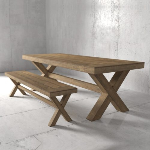 Urban Woodcraft | 70'' Natural Grand X Bench 5