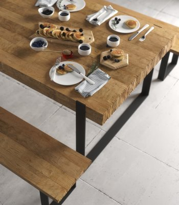 Urban Woodcraft | 78'' Natural Hudson Dining Table Set