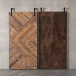 40'' Reclaimed Wood Artisan Crafted Urban Woodcraft Herringbone Sliding Interior Barn Door