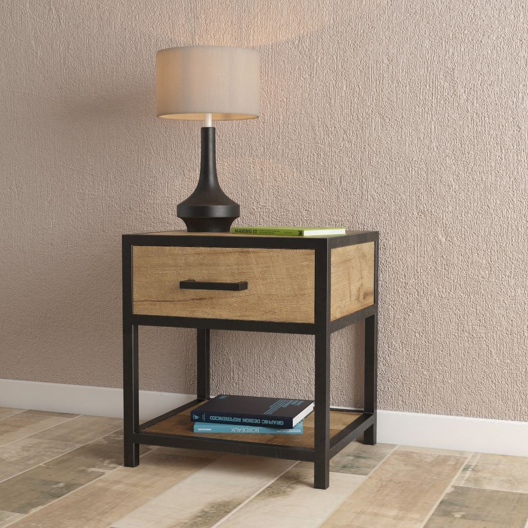 "Urban Woodcraf 18"" Opus Bedside Solid Wood Solid Steel Metal Bedside Table Natural Wood Finish Beautiful Multi-Coloured Reclaimed Distressed Wood"
