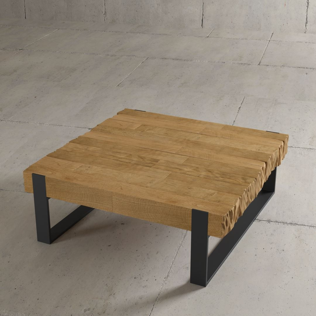 "Chunky 40"" Hudson Coffee Table Urban Woodcraft Modern Rustic Cottage Summer Coffee Table Solid Wood Furniture"