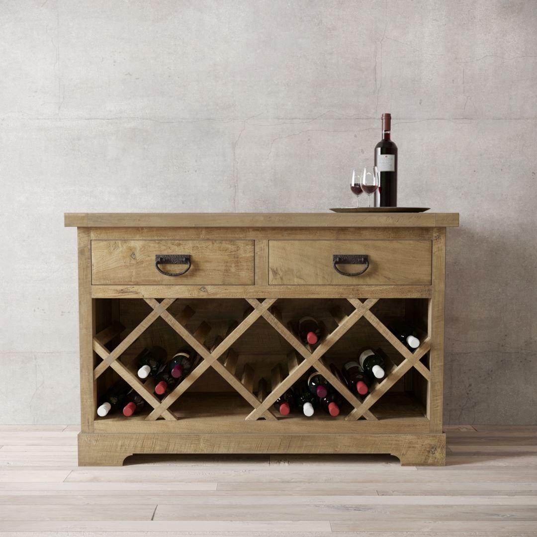 "Urban Woodcraft | 46"" Natural Riverbend Wine Bar 1 MAIN"