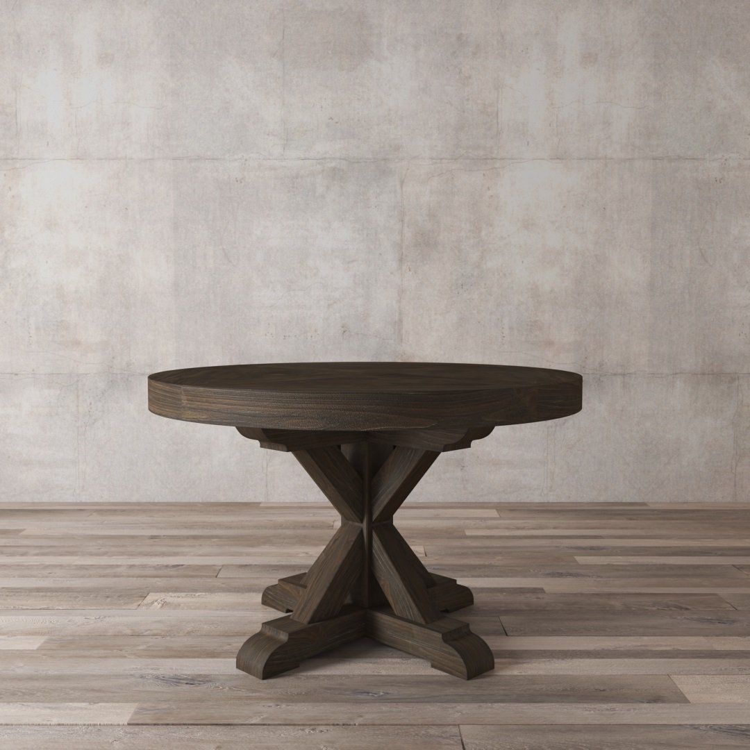 "Urban Woodcraft 48"" Espresso Dark Brown Black Colour Natural Solid Wood Round Dining Table"