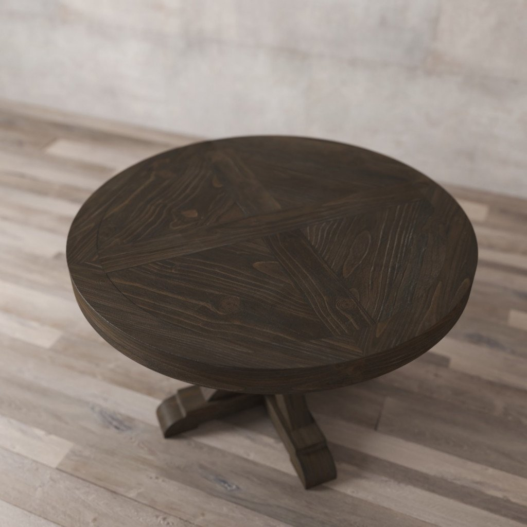 60 Quot X Base Round Table Salvaged Espresso Urban Woodcraft