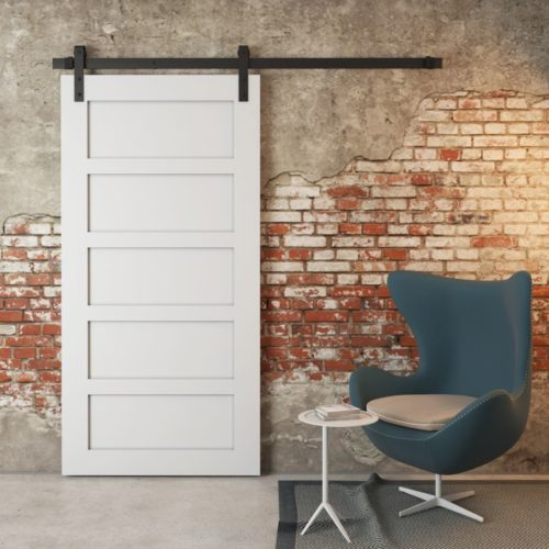 Urban Woodcraft | 5 Panel Grey Barn Door 1 MAIN