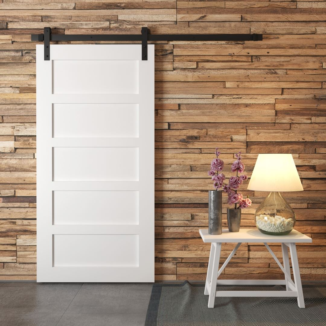 Urban Woodcraft | 5 Panel White Barn Door 1 MAIN
