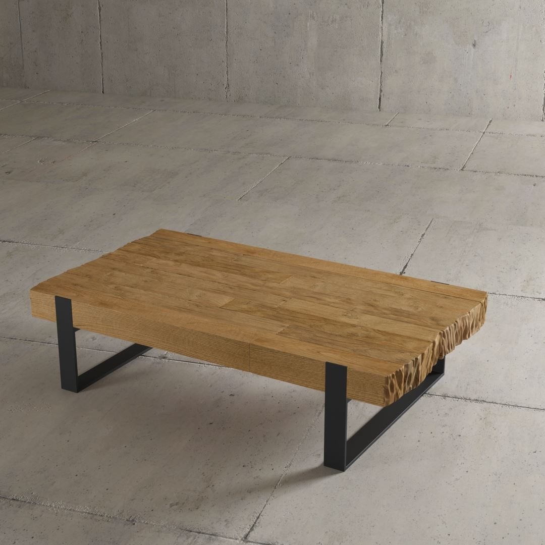 "Urban Woodcraft 55"" Chunky Hudson Coffee Table Steel Sleds Reclaimed Wood"