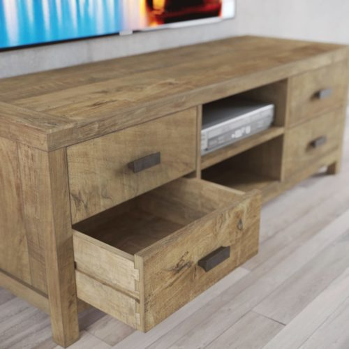 Urban Woodcraft | 58'' Natural Reclaimed Teak Brookside TV Stand 7