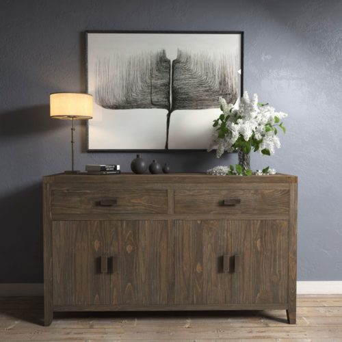 "Urban Woodcraft | 60"" Salvaged Espresso Brookside Dining Buffet 1 MAIN"