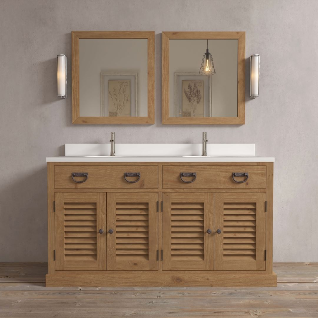 Urban Woodcraft | 63'' Antique Pine Ardenne Double Vanity 1 MAIN