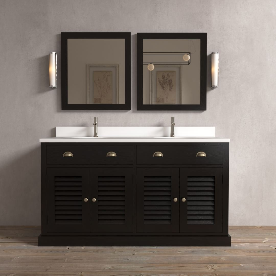 "Urban Woodcraft 63"" Double Vanity Set Amalfi Slats Solid Wood Vanity Lighting Urban Modern Sleek Chic Vanity"