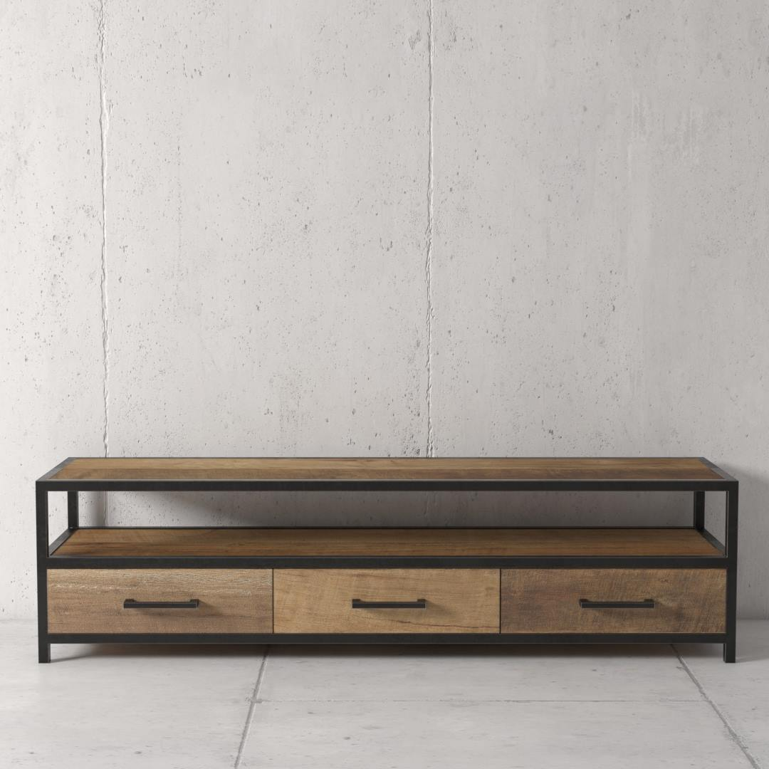 "Opus 67"" Reclaimed Wood is Salvaged and Naturally Unfinished To Showcase Beautiful Solid Wood TV Stand by Urban Woodcraft"