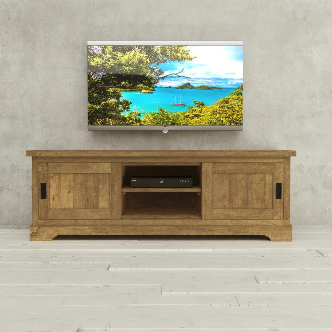 Urban Woodcraft 68'' Muskoka TV Stand Reclaimed Wood 1 MAIN TV ON 1