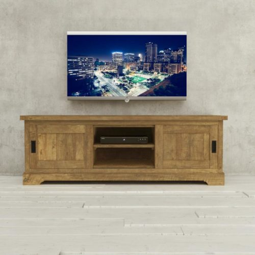 Urban Woodcraft | 68'' Muskoka TV Stand Reclaimed Wood 1 MAIN TV ON 2