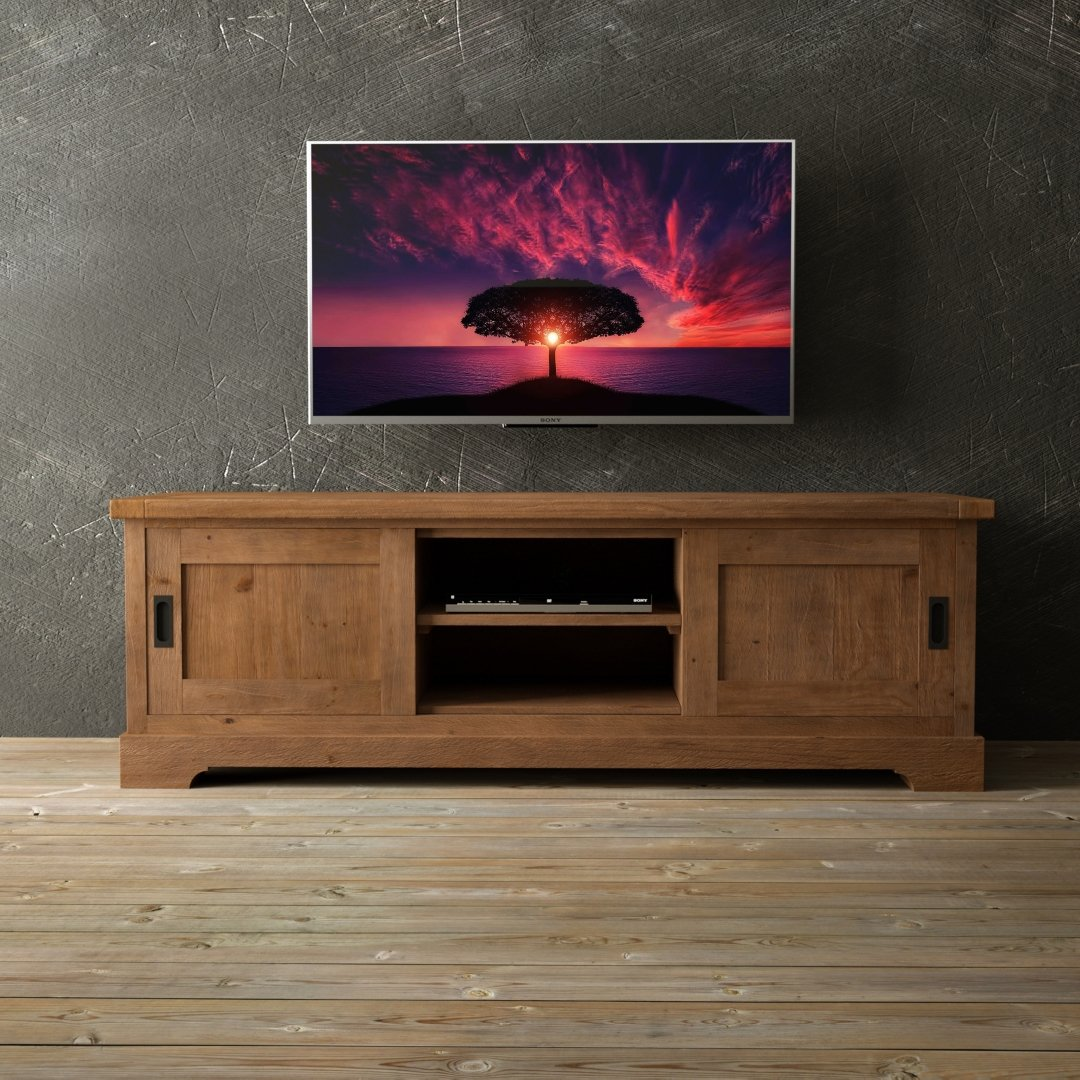 "Urban Woodcraft 68"" Muskoka Okanagan Matrix Doors TV Stand in Natural & Distressed Solid Wood"
