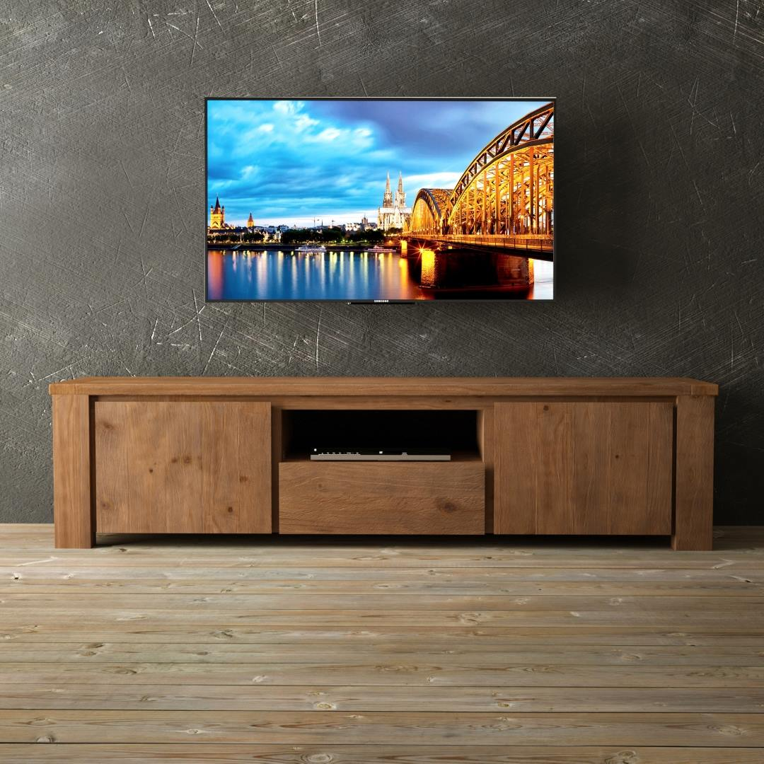 Urban Woodcraft | 72'' TECA TV Stand Antique Pine 1 MAIN TV ON