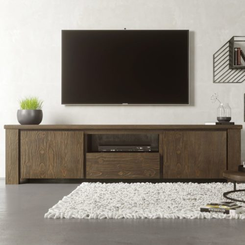 "Urban Woodcraft | 72"" Salvaged Espresso TECA TV Stand 1 MAIN"