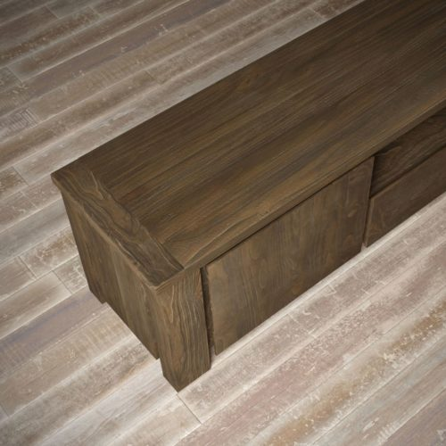 "Urban Woodcraft | 72"" Salvaged Espresso TECA TV Stand 11"