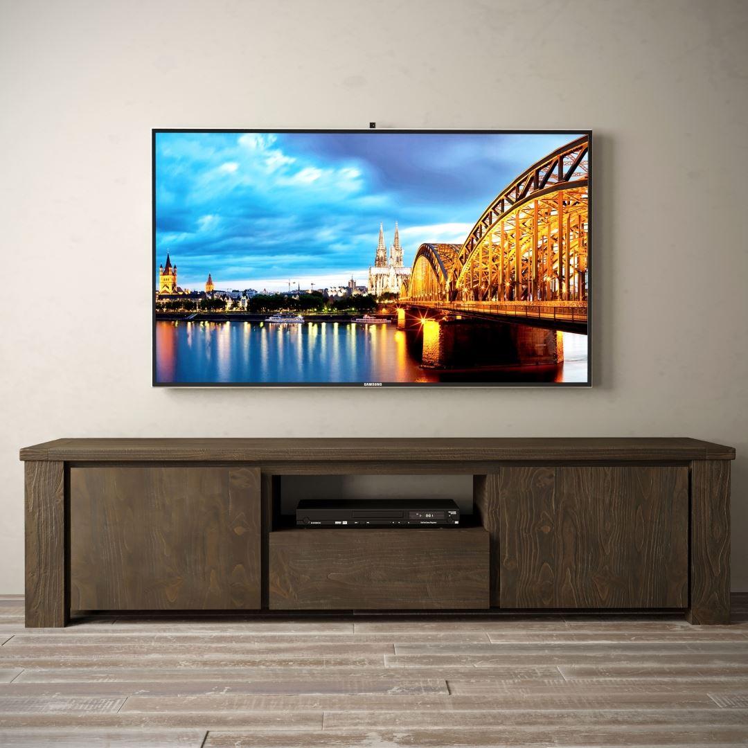 "Urban Woodcraft | 72"" Salvaged Espresso TECA TV Stand 2 MAIN"
