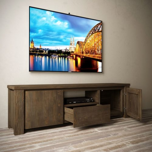 "Urban Woodcraft | 72"" Salvaged Espresso TECA TV Stand 4 MAIN"