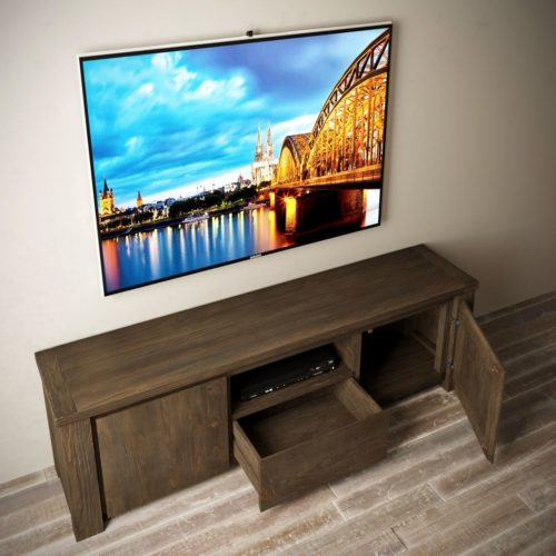 "Urban Woodcraft | 72"" Salvaged Espresso TECA TV Stand 5 MAIN"