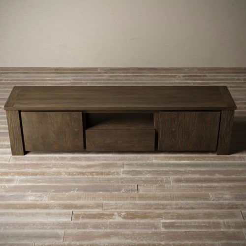 "Urban Woodcraft | 72"" Salvaged Espresso TECA TV Stand 7"