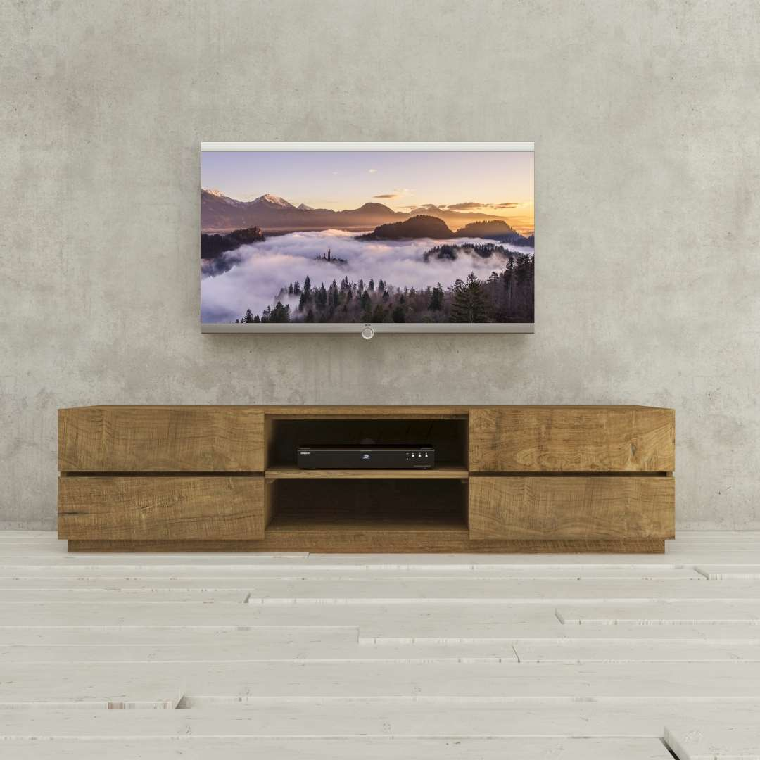 "Urban Woodcraft 75"" Solid Wood TV Stand made from hand finished and wire brushed distressed wood boards."