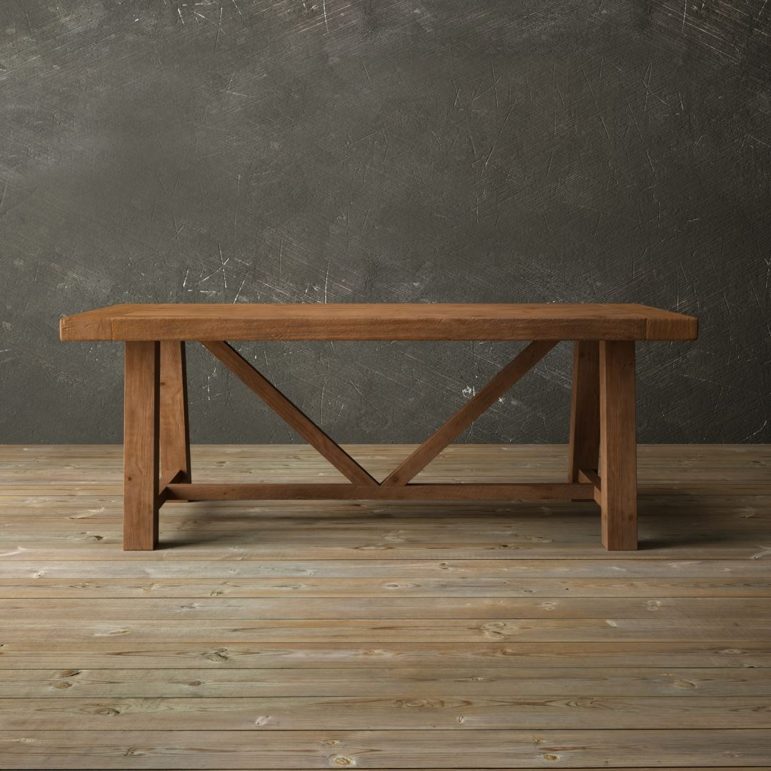 "Urban Woodcraft | 78"" Antique Pine Farmhouse Dining Table 1 MAIN"