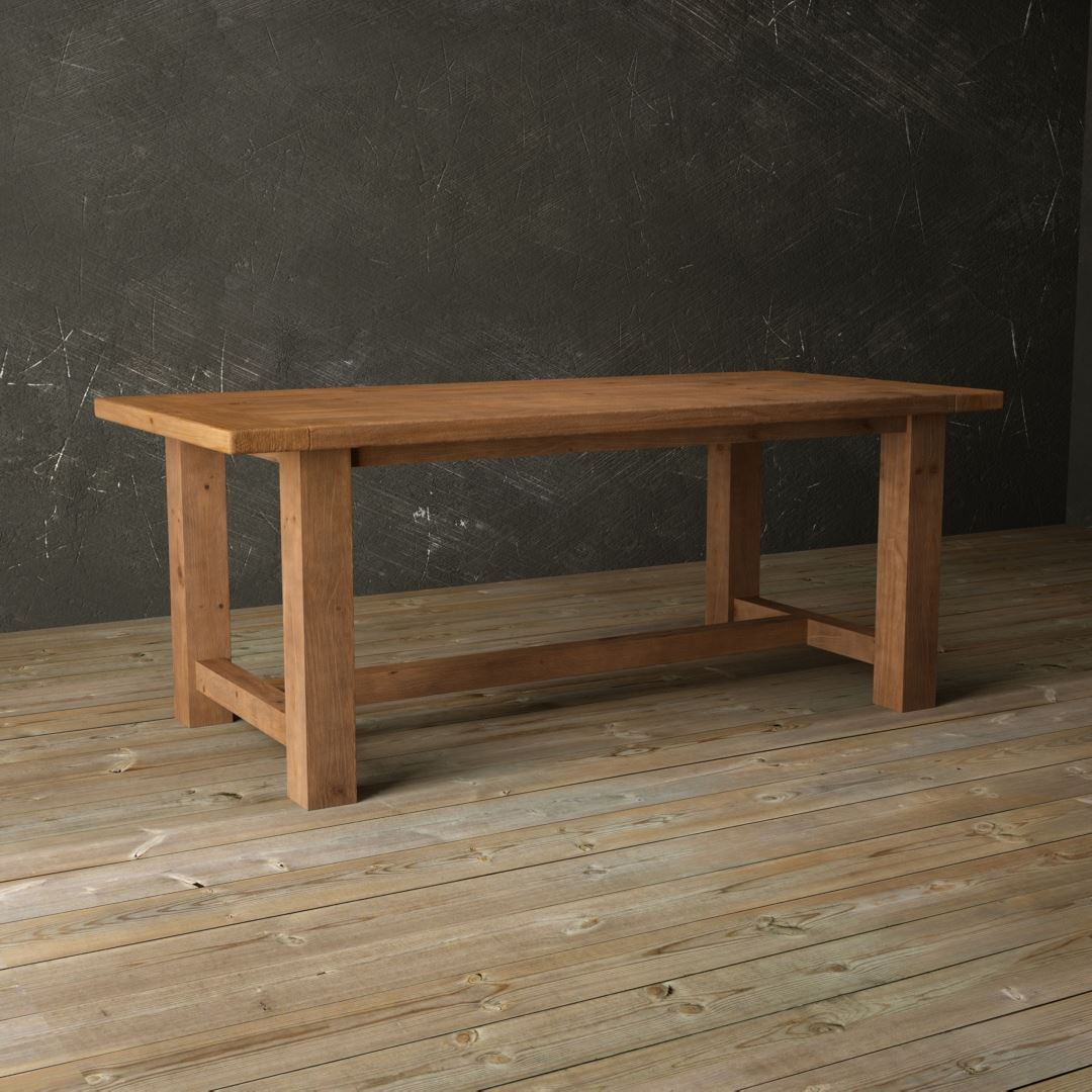 "Urban Woodcraft | 78"" Antique Pine I-Base Dining Table 2"