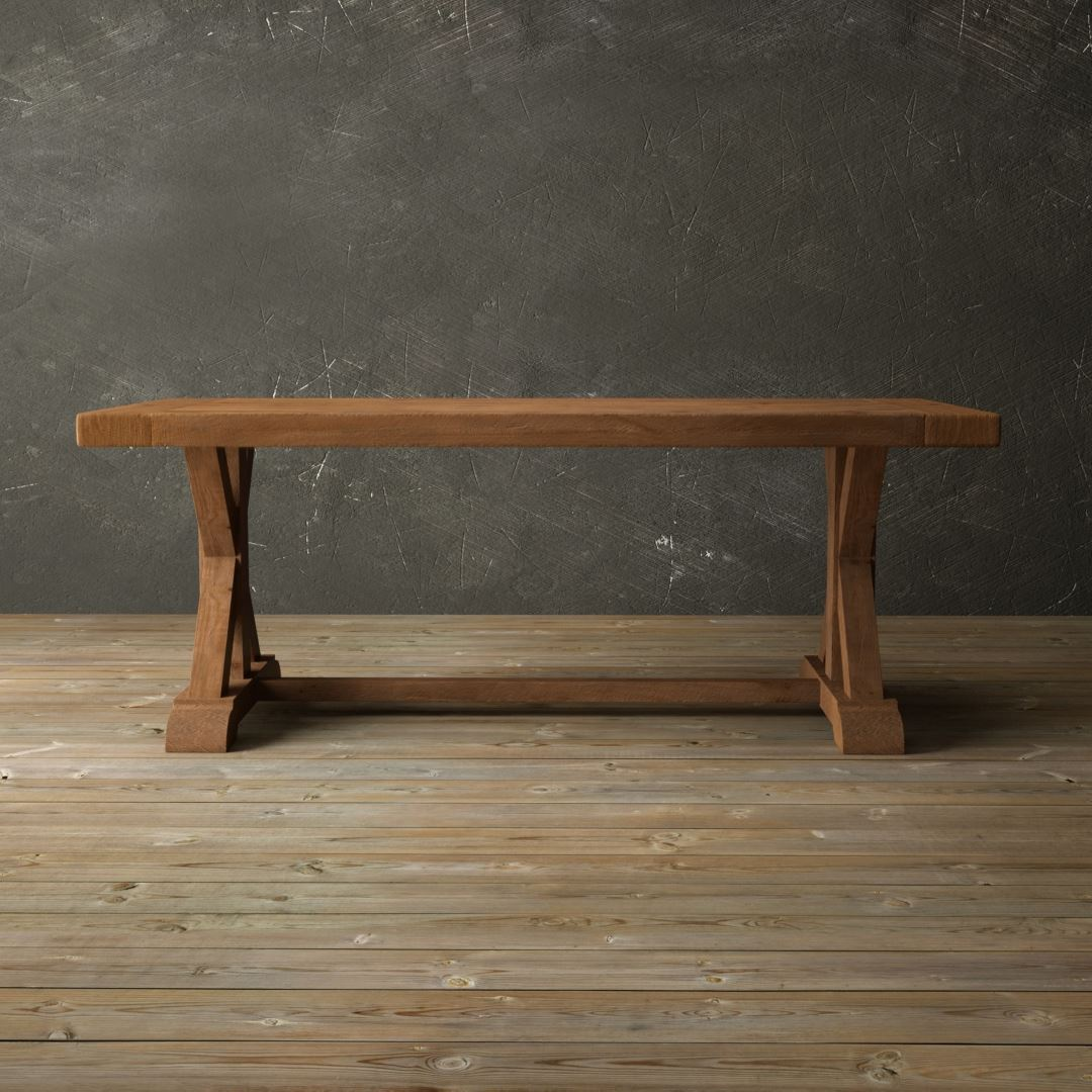 "Urban Woodcraft | 78"" Antique Pine X-Base Dining Table 1 MAIN"