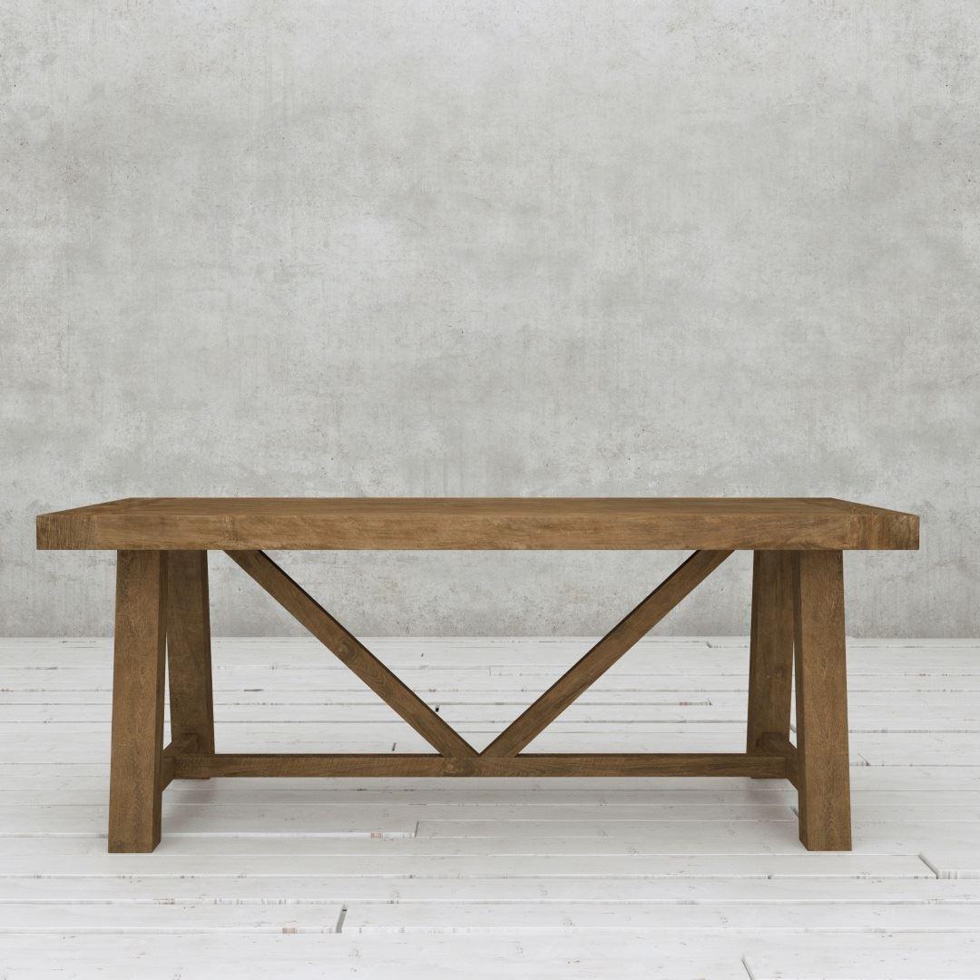 "Urban Woodcraft | 78"" Reclaimed Teak Dark Farmhouse Dining Table 2"