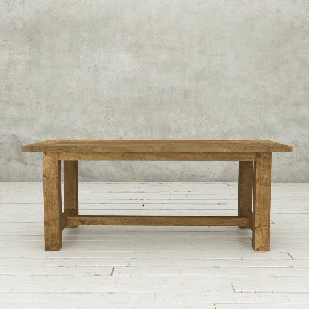 "Urban Woodcraft | 78"" Reclaimed Teak Natural I-Base Dining Table 2"