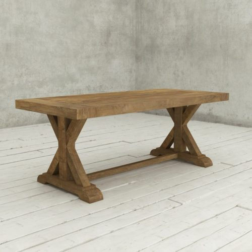 "Urban Woodcraft | 78""Reclaimed Teak Natural X-Base Dining Table 1 MAIN"