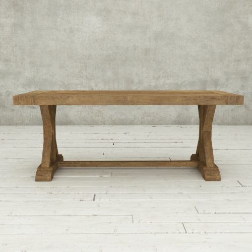 "Urban Woodcraft | 78"" Reclaimed Teak Natural X-Base Dining Table 2"