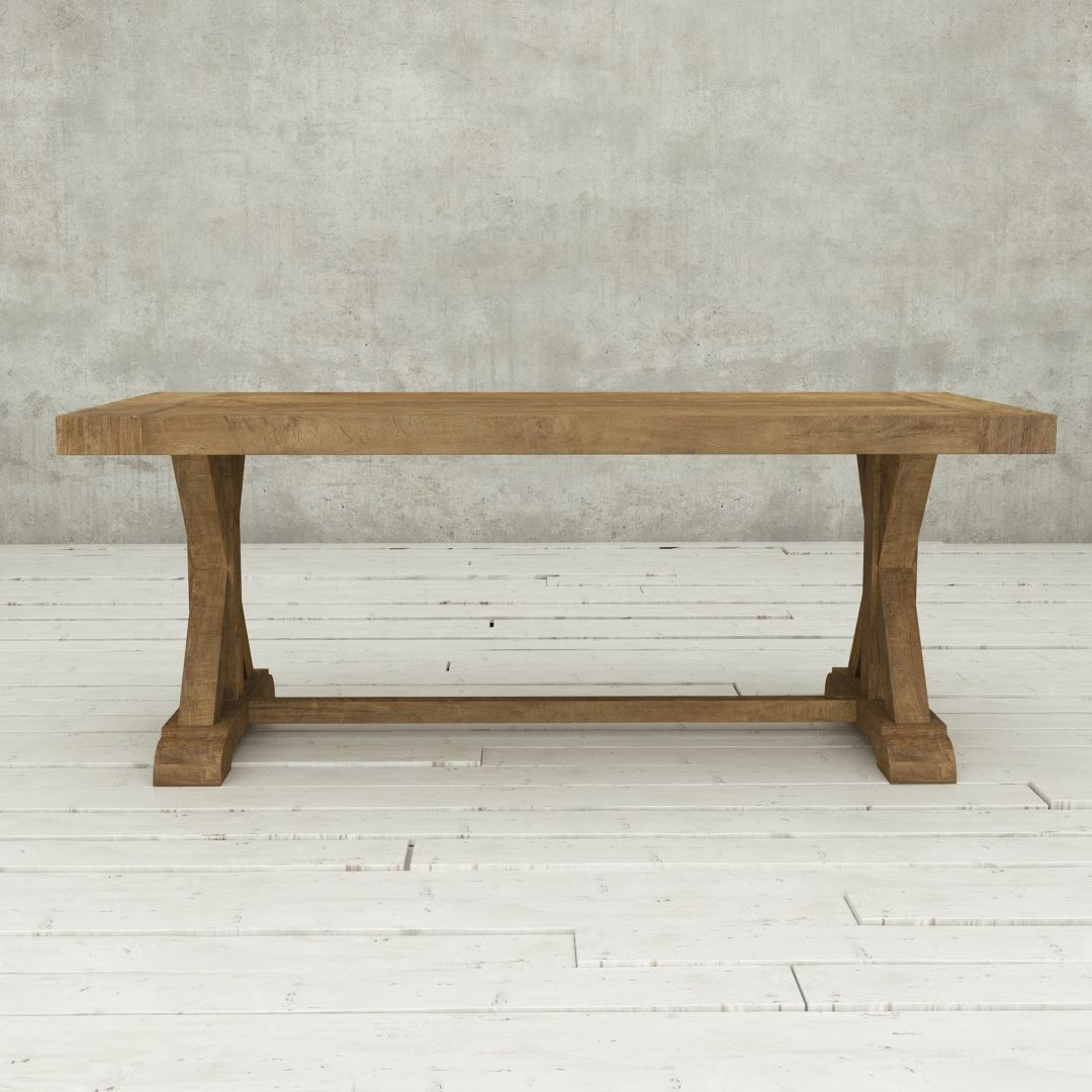 "Classic Rustic Farmhouse Dining Table by Urban Woodcraft 78"" X-Base Cross Legs Solid Wood Dining Furniture Sets"