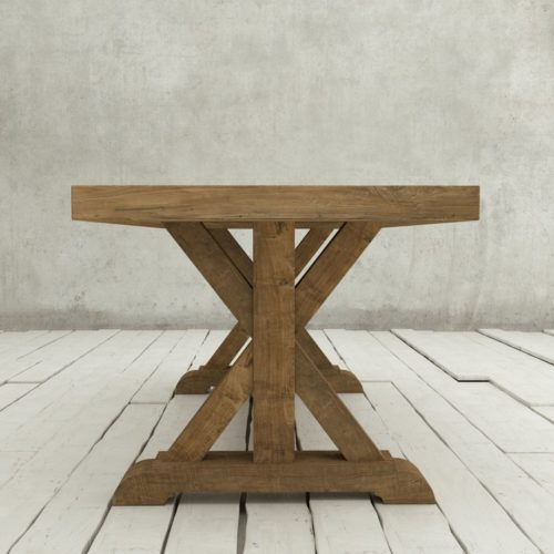 "Urban Woodcraft | 78"" Reclaimed Teak Natural X-Base Dining Table 3"