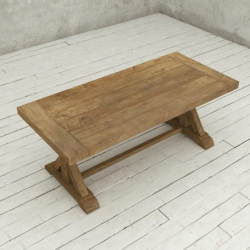 "Urban Woodcraft | 78"" Reclaimed Teak Natural X-Base Dining Table 5"