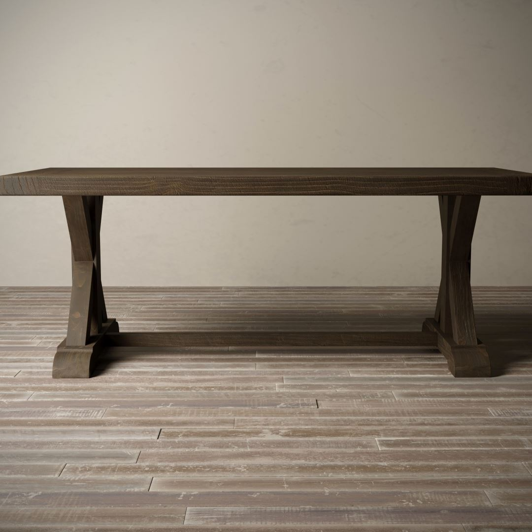 "Urban Woodcraft | 78"" Salvaged Espresso X-Base Dining Table 2"