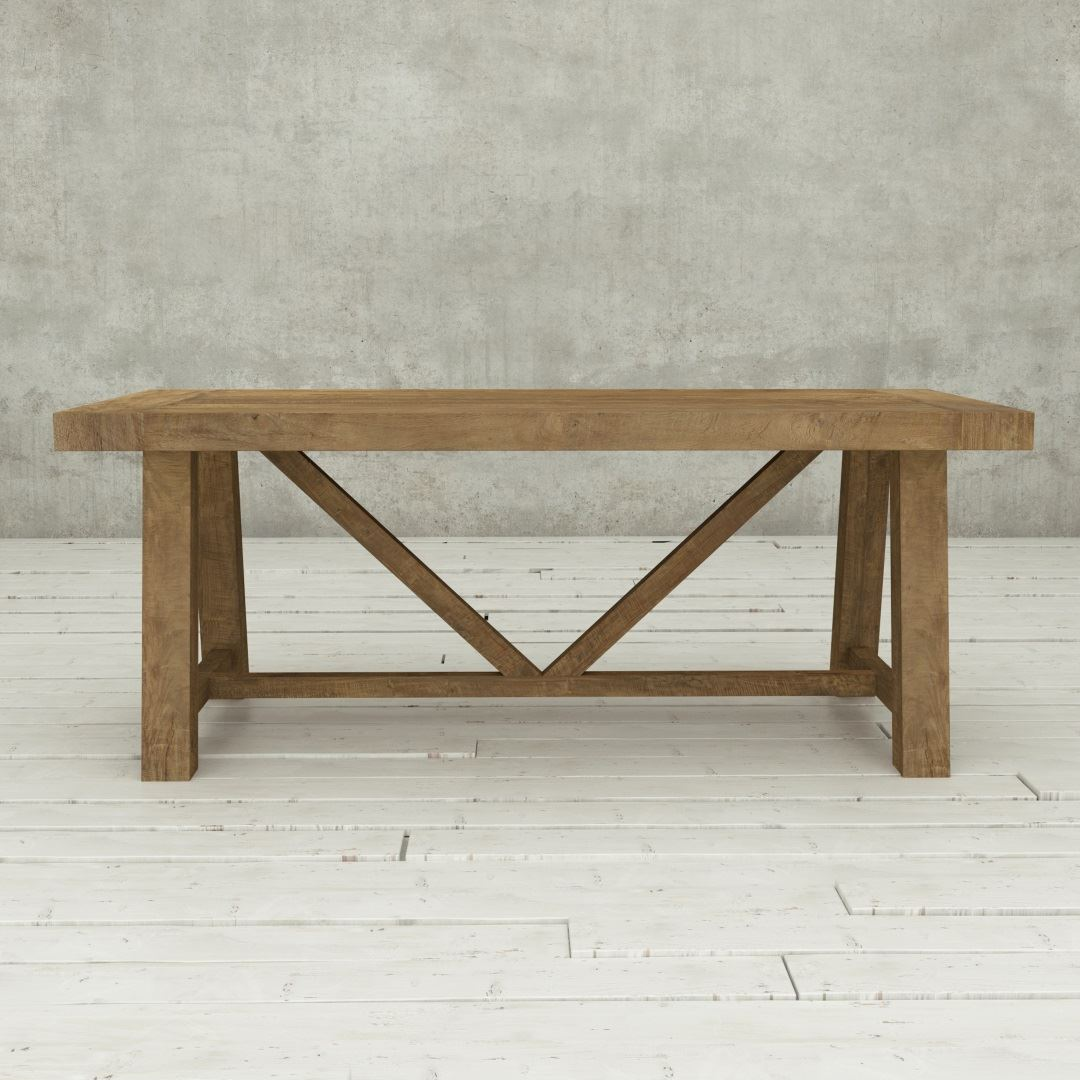 "Urban Woodcraft | 78"" Reclaimed Teak Natural Farmhouse Dining Table 2"