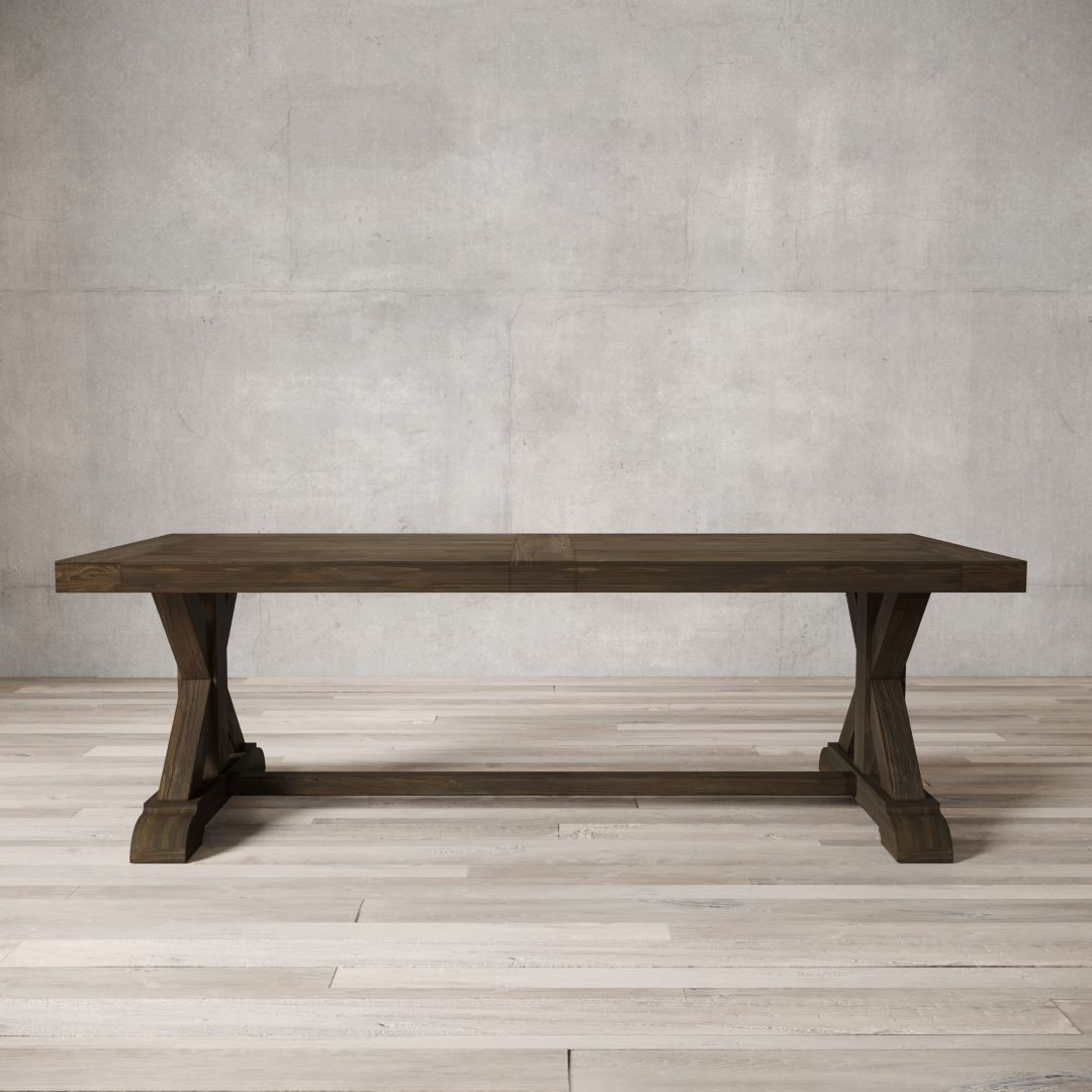 Urban Woodcraft 98'' Salvaged Espresso X-Base Dining Table 1 MAIN