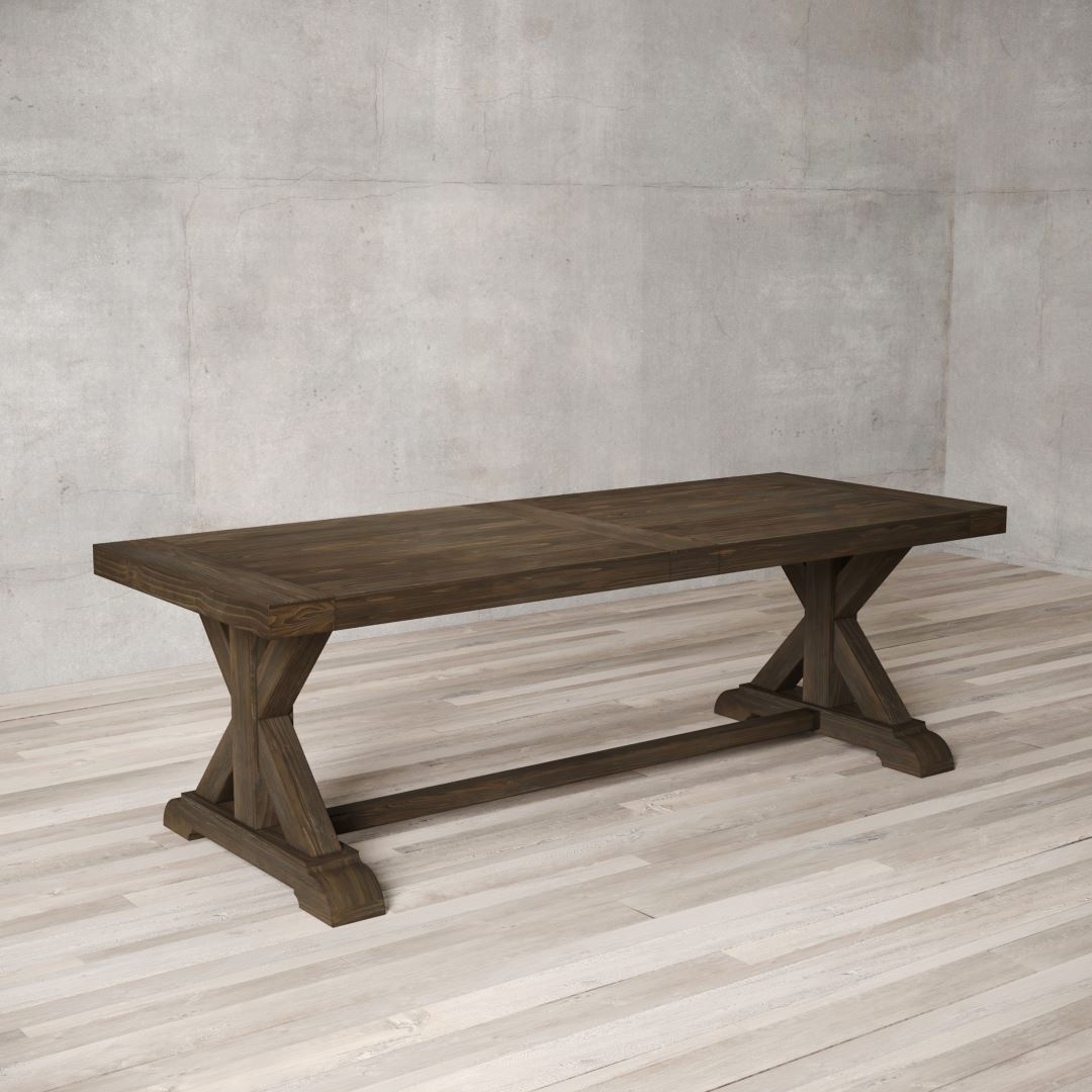 "Urban Woodcraft | 98"" Salvaged Espresso X-Base Dining Table 2"