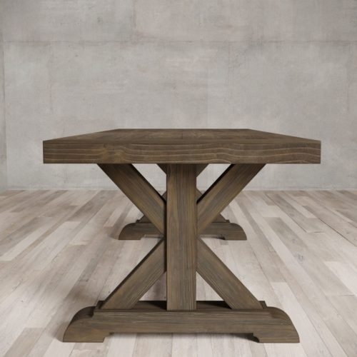 "Urban Woodcraft | 98"" Salvaged Espresso X-Base Dining Table 3"
