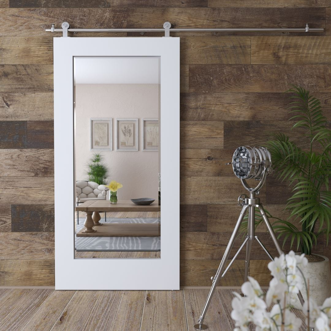 Urban Woodcraft | Beveled Mirror White Barn Door 1 MAIN