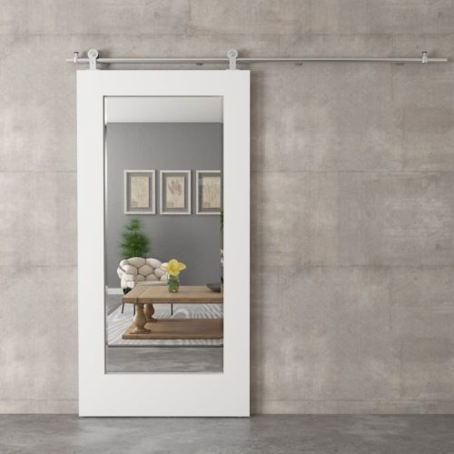 Urban Woodcraft | Beveled Mirror White Barn Door 2