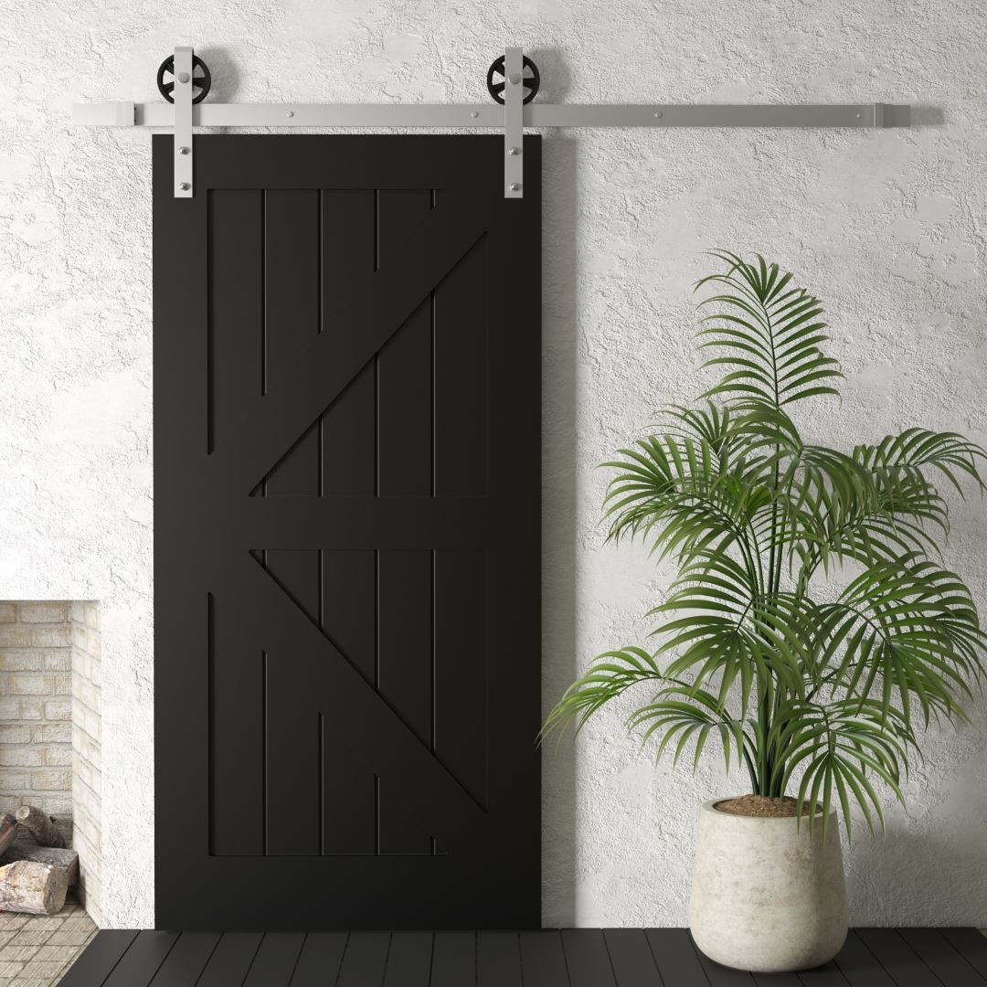 Urban Woodcraft Barn + Door Espresso Black Matte Gloss Interior Sliding Barn Door British Brace Arrow Imperial Plank Manhattan Barn Door