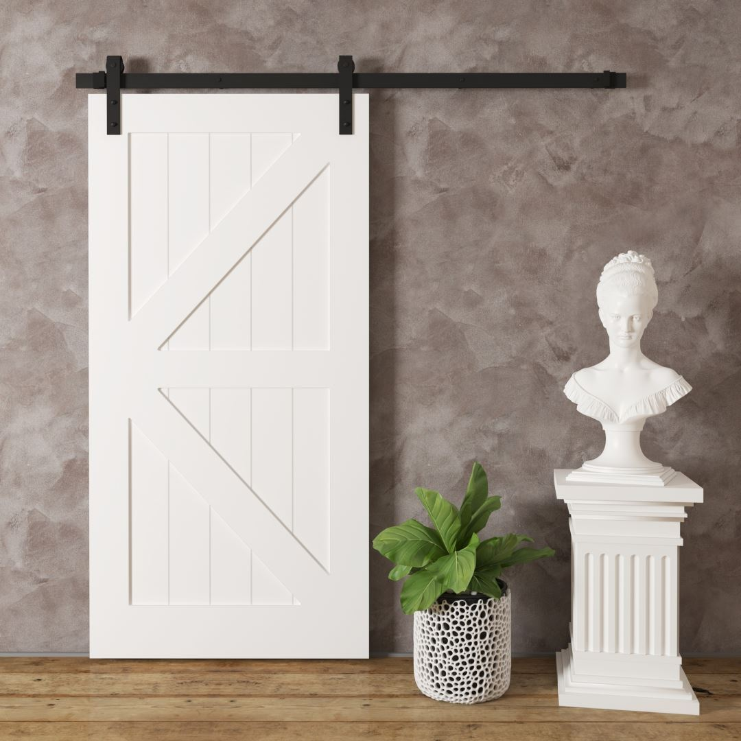 Urban Woodcraft Barn + Door Barn Door British Brace White modern Sliding Interior Bathroom Pantry American Canadian Solid Core Sliding Barn Door