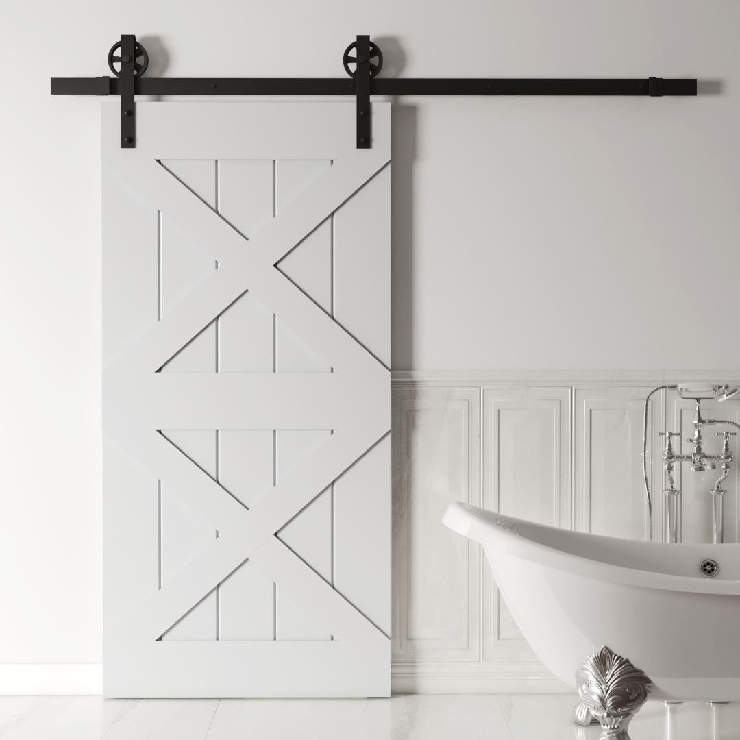 Urban Woodcraft Barn + Door Double X Modern Interior Sliding Barn Door Bathroom Door Sleek Good