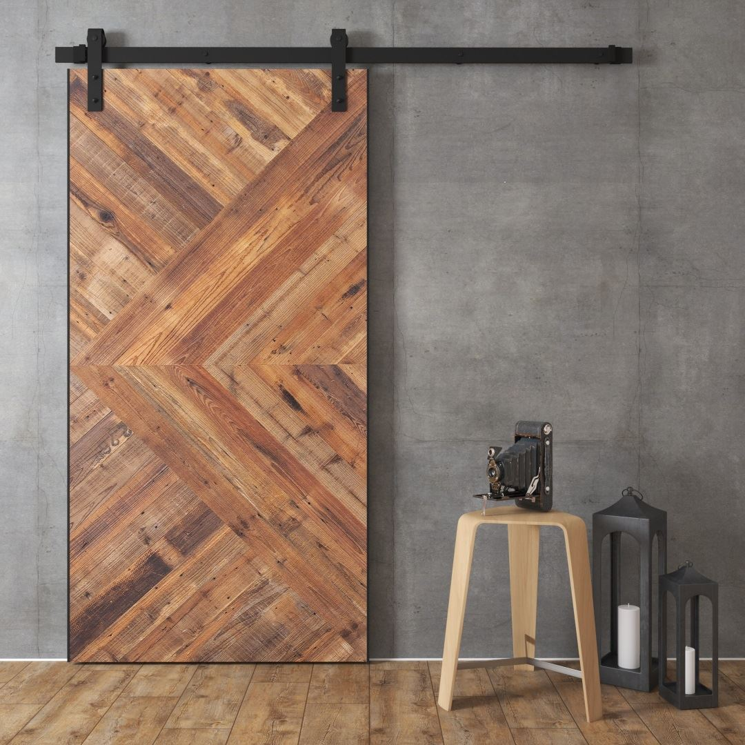Urban Woodcraft Artisan Made Barn Door Sliding Interior Barn + Door Modern Arrow Gwendolen Reclaimed Wood Barn Door
