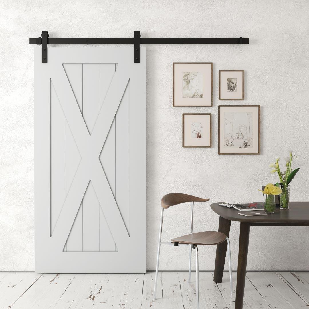 Urban Woodcraft Barn + Door X Panel Grey Sliding Interior Barn Door Ultra Premium Sound Dampening X Door