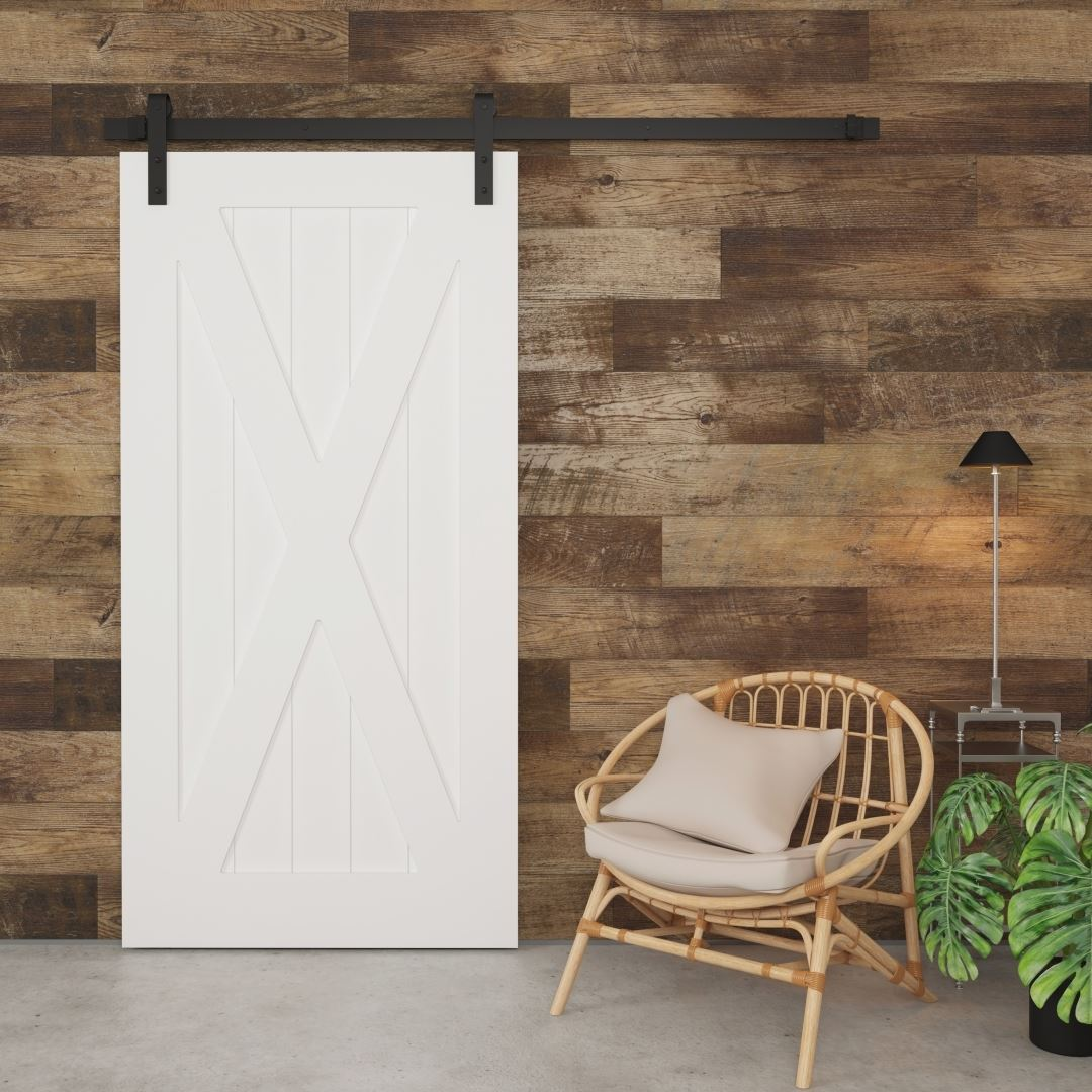 Urban Woodcraft | X-Panel White Barn Door 1 MAIN